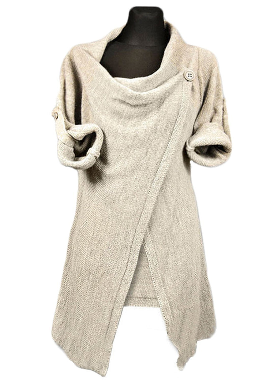 Women s Acrylic Soft Knit Long Sleeve One-Button Wrap Cardigan