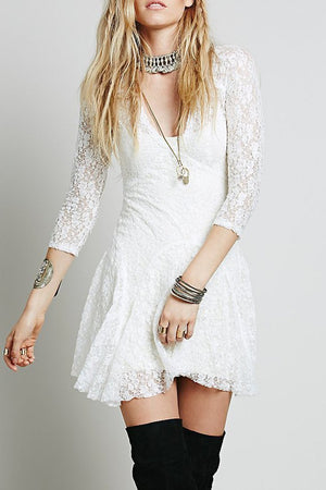 Women s V Neck Three Quarter Length Sleeve Lace Mini Day Dress