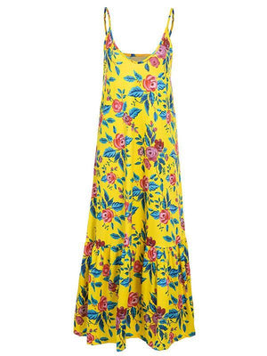Holiday Floral Printed Floral Printed Spaghetti Strap Maxi Dress
