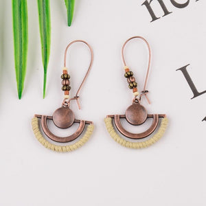 Vintage Ethnic Metal Bronze Semicircle Drop Earrings