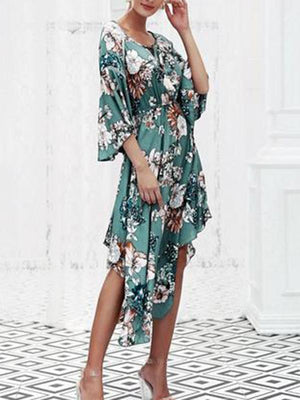 V NECK LONG SLEEVES FLORAL MIDI DRESS