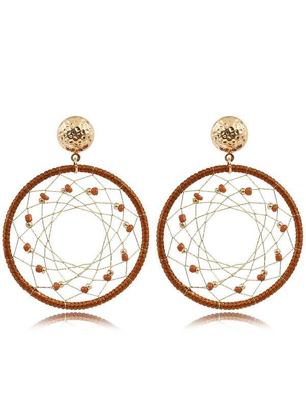 Vintage Bohemia Dream Catcher Hollow Round Earrings Jewelry