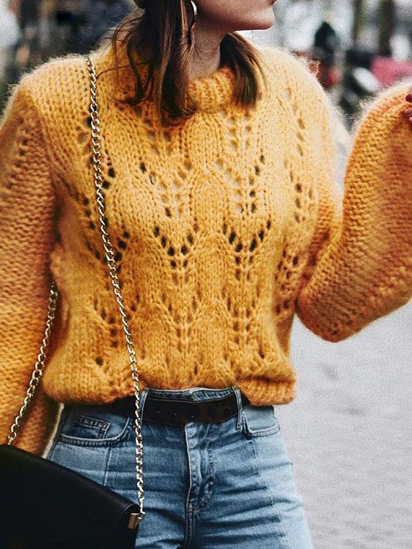 Loose Solid Color Knitting Sweater Tops