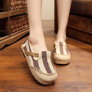 Stripe Pattern Flax Breathable Retro Flat Slip On Women Shoes