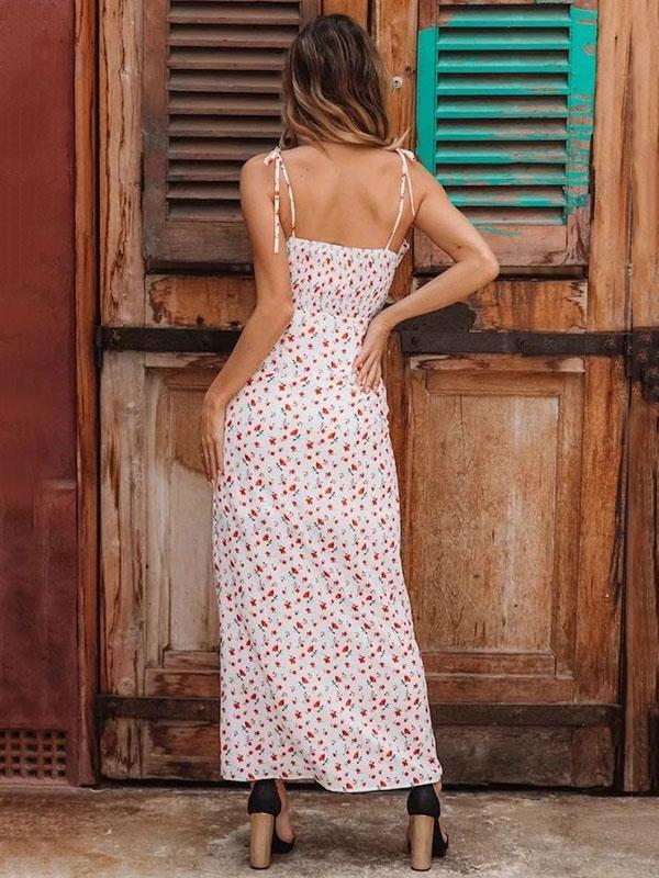 Casual Floral Printed Holiday Beach Split-side V-neck Maxi Dress