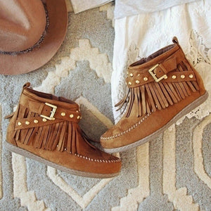 Casual Buckle Tassels Round Toe  Side Zipper Ankle Boots