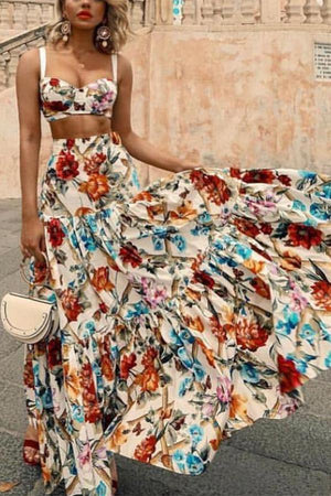 Sexy Off Shoulder Midriff-Baring Floral Printed Top Skirt Set