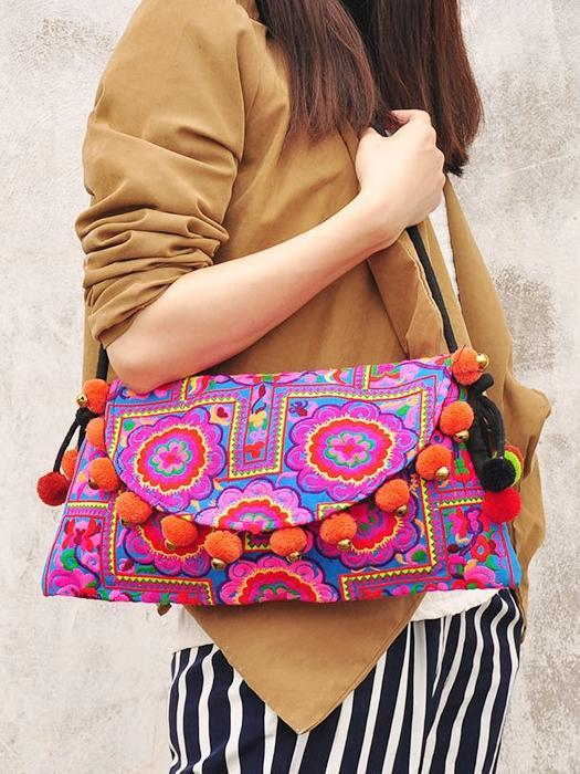 Flower Ethnic Embroidery Shoulder Cross Pom Ball Small Bag - Voguetide