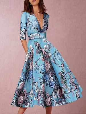 Vintage Sleeve Large Hem Floral V-neck Long Dress