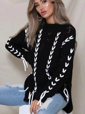 Winter Strap Loose Knit Hollow Sweater