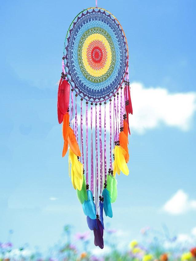 Handmade Colorful Feathers Long Dream Catcher Wall Decoration - Voguetide