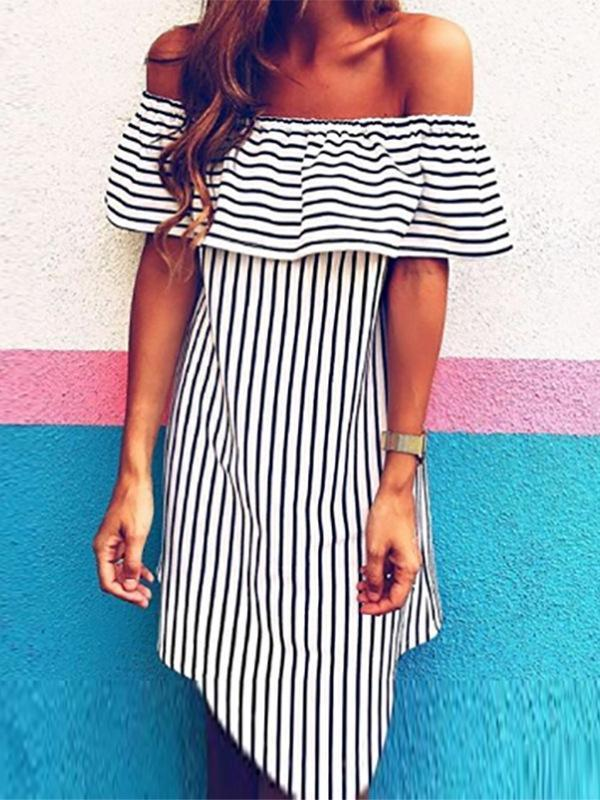 Summer Stripe Off The Shoulder Mini Dress