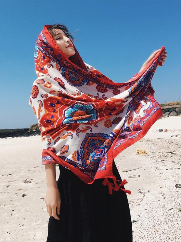 Bohemian Sun Flower Beach Towel Sunscreen Shawl Scarf - Voguetide