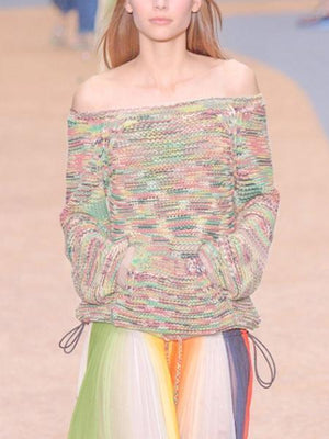 Winter Knit Off The Shoulder Sweet Colorful Loose Sweater