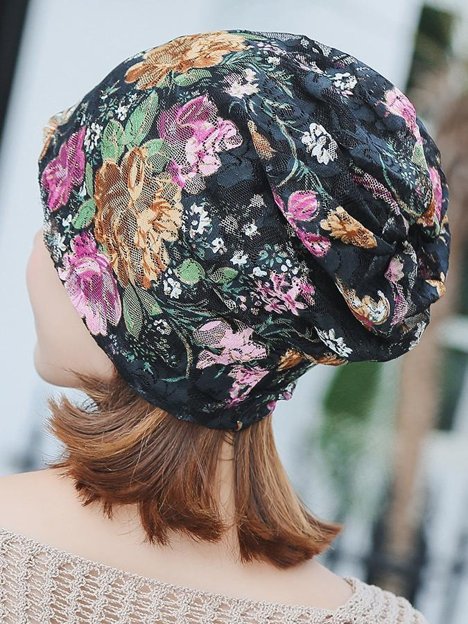 Boho Lace Floral Double-layer Casual Outdoor Hat - Voguetide