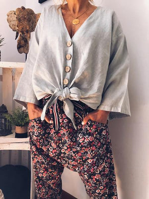 Loose Button Summer V-neck Long Sleeve Solid Color Tops Blouse Shirt