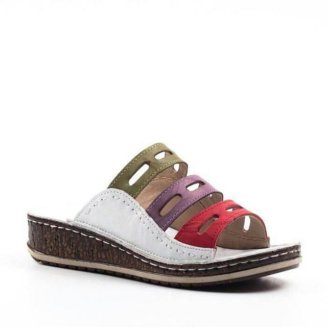 Casual Thick-Soled Color Matching Summer Comfy Beach Wedge Sandals Loafers