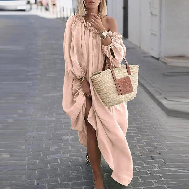 Sexy Off Shoulder Ruffle Long Sleeve Beach Maxi Dress