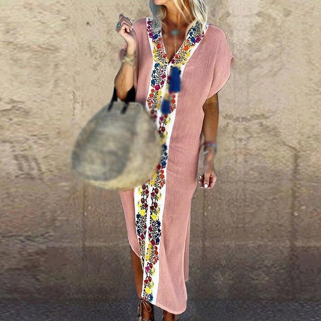 Stylish Split Floral Print Short Sleeve V-Neck Holiday Summer Maxi Dress