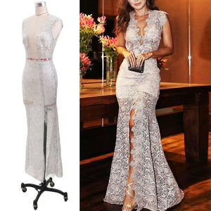 Sexy Lace Dress Slim Fit Deep V-Neck Sleeveless Front Open Big Pendulum Fishtail Maxi Dress