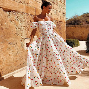 Bohemian Sexy Flower Print A-Line Backless Maxi Dress