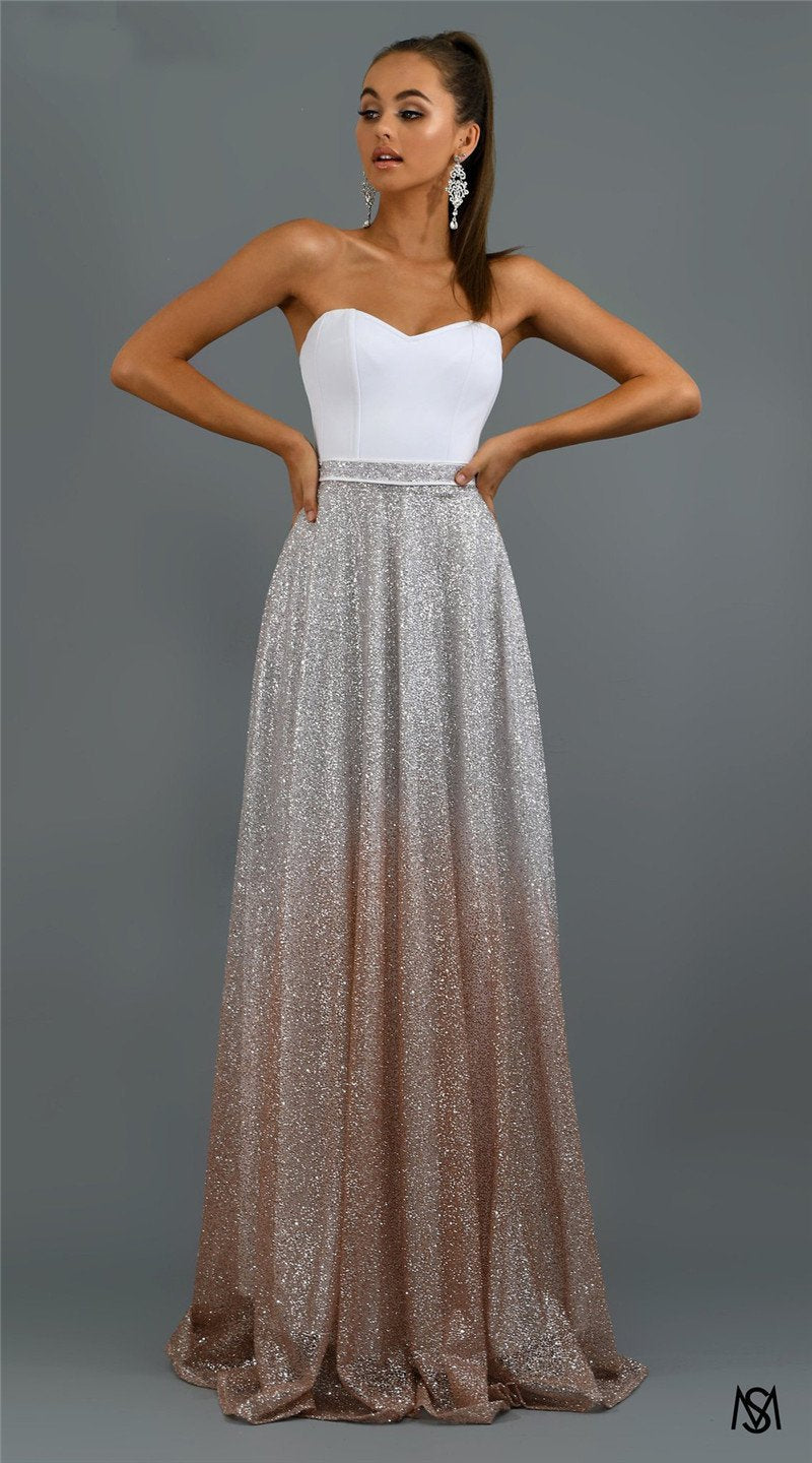 Vintage Party Night Sexy Elegant Dress Strapless Maxi Dress