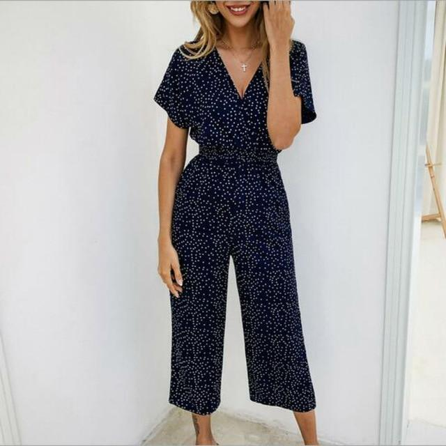 Loose Polka Dot V-neck Short Sleeve High Waist Wide Leg Jmpsuit