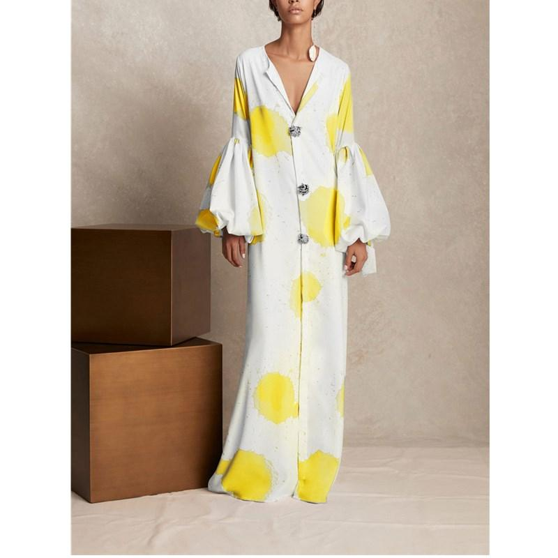 Fashion Puff Sleeve Floral Print Deep V-Neck Single-Breasted Maxi Dress