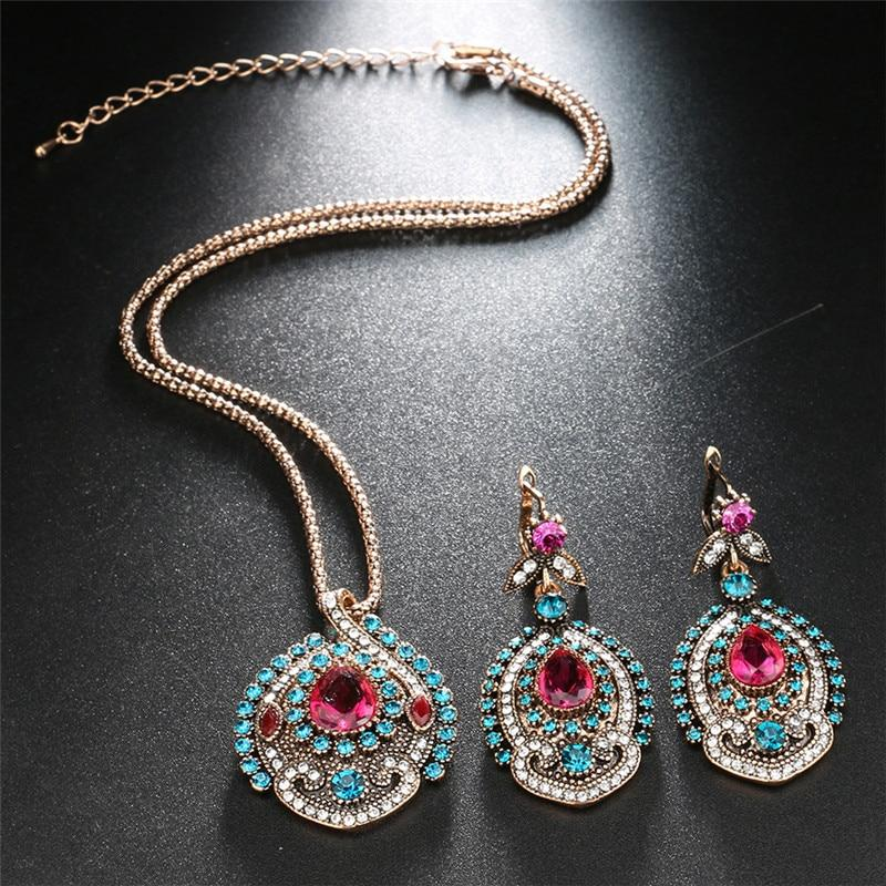 Restro 2Pcs Red Jewelry Sets Antique Gold Pink Crystal Wedding Party Jewelry