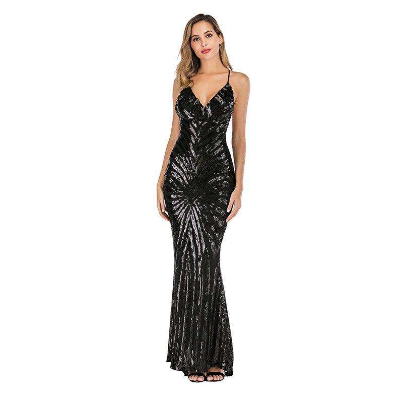 Sexy Sequins Backless Spaghetti Strap V-neck Bodycon Club Maxi Dress