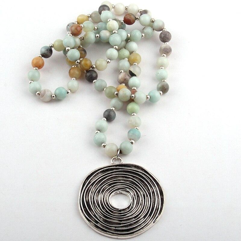 Fashion Amazonite Stone Bead Metal Circle Pendant Necklace