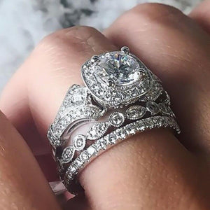 3Pcs Crystal Zircon Wedding Bridal Rings Jewelry