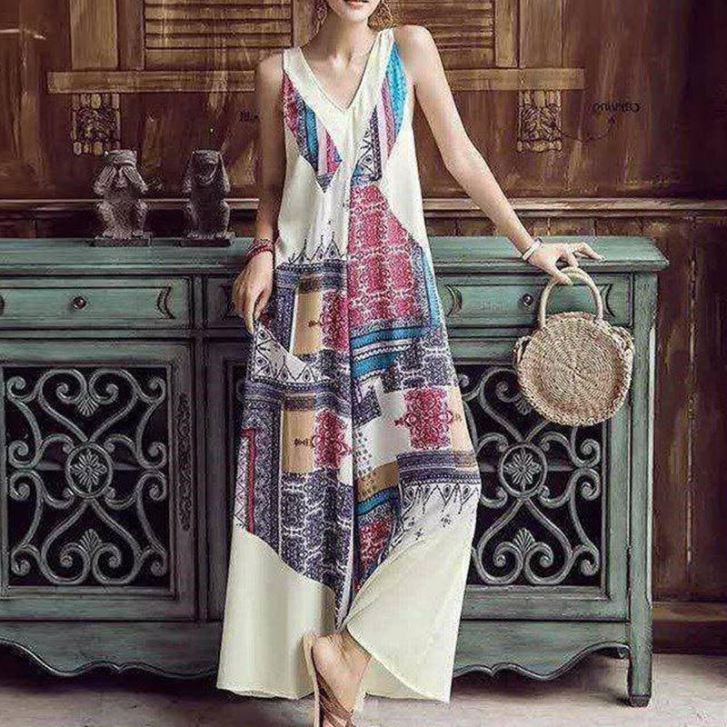 Boho Sexy Sleeveless V-Neck Printed Loose Wide Leg Jumpsuit Rompers