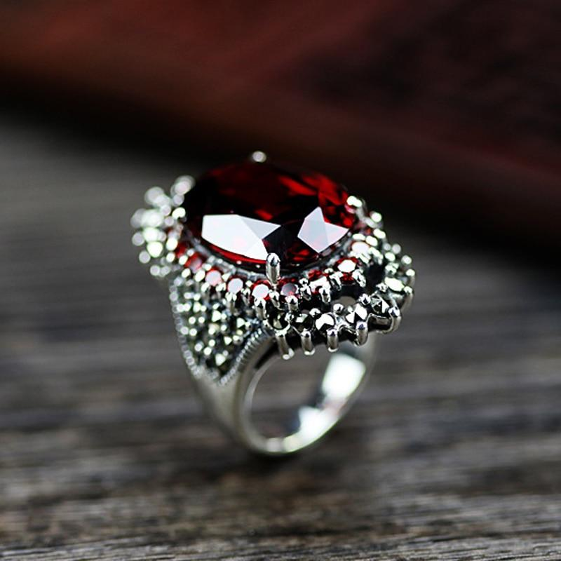 Vintage Red Blue Big Stone Exquisite Wedding Engagement Rings