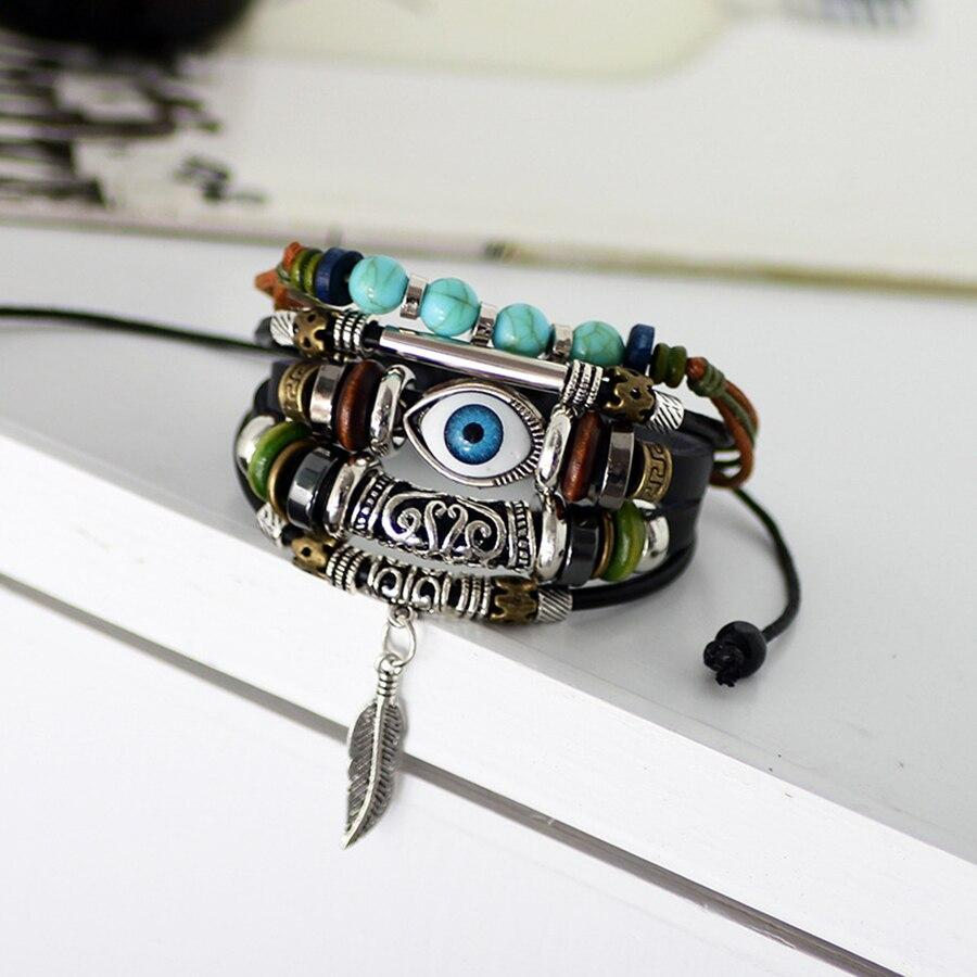 Evil Eyes Vintage Multi-Layer Leather Bracelet