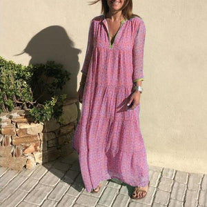 Bohemian Vacation Autumn Long Sleeve Party Maxi Dress
