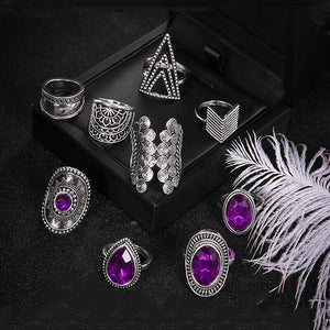 Vintage Drop Hollow Lotus Triangle Round Crystal Geometric Silver Ring Set