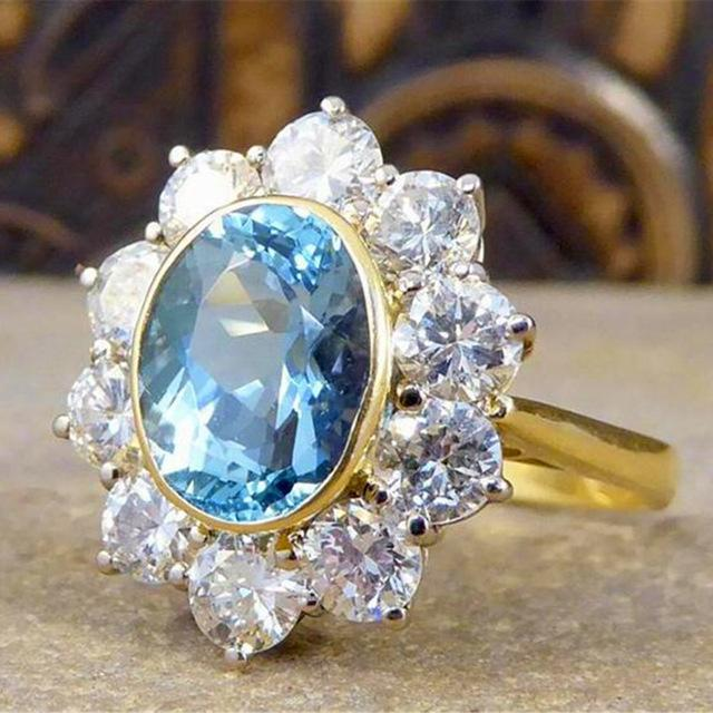 Chic Daisy Flowers Blue Zircon Wedding Ring Jewelry