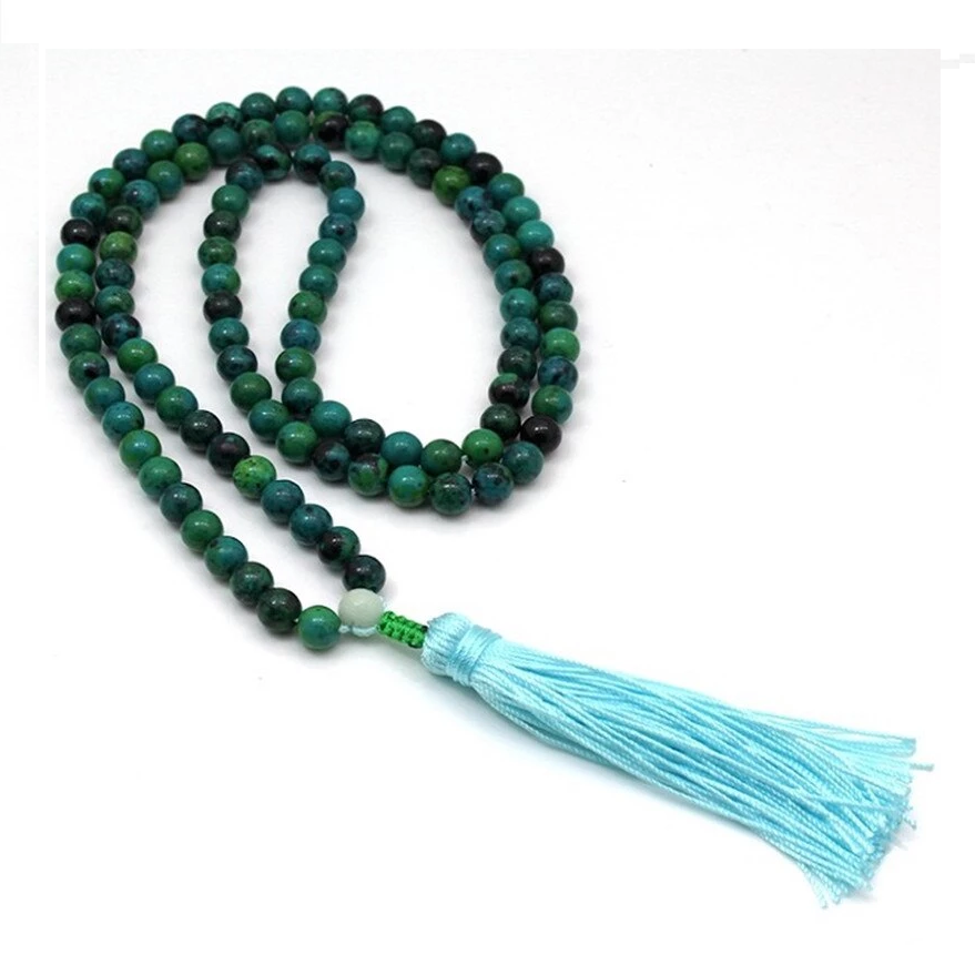 Natural Blue Chrysocolla Beads Mala Tassel Necklace
