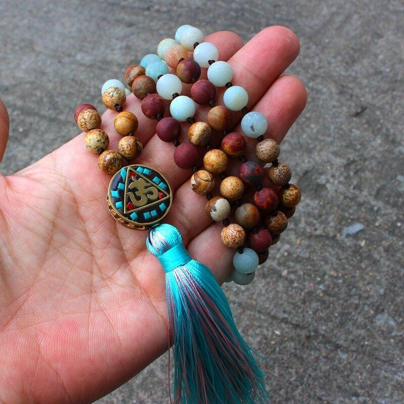 Matte Natural Stone Beads Nepal Pendant Long Mala Necklace