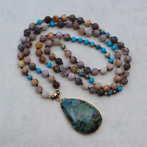 Bohemian natural stone drop-shaped pendant beads necklace