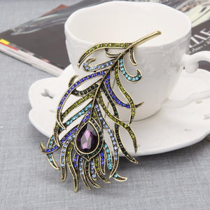 Retro Large Rhinestone Peacock Feather Crystal Brooches Jewelery Accessories
