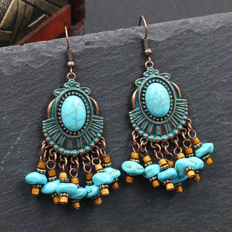 Vintage Metal Blue Stone Dangle Drop Earring Tribal Jewelry