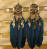 Vintage Metal Handmade Feather Dangle Earrings