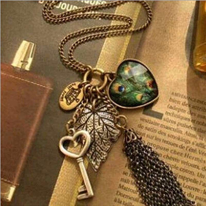 High Quality Retro Peacock Feather key Necklace