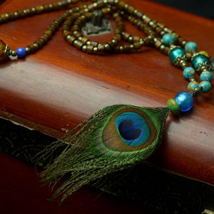 Ethnic Thailand Crystal Stones Peacock Feather Necklace Jewelry