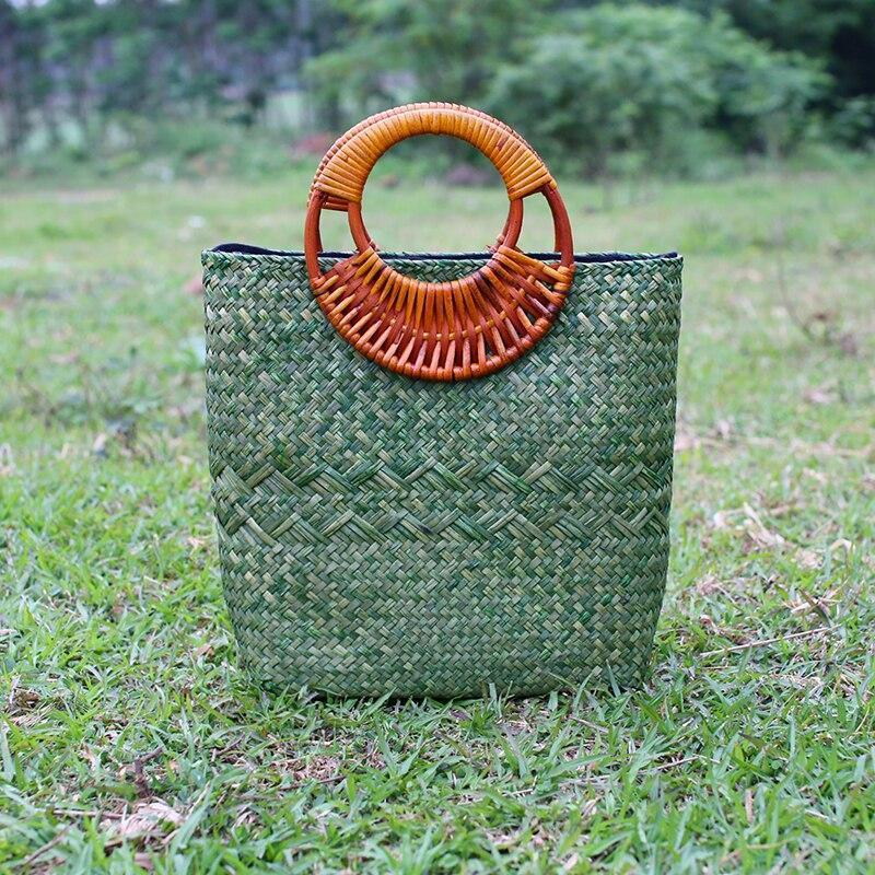 Handicrafts Natural Womens Bread Thai Handbag Travel Beach Fashion Retro Straw Bags