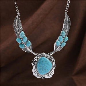 Bohemia Real Stone Jewelry Chain Color Antique Silver Turquoise Necklace