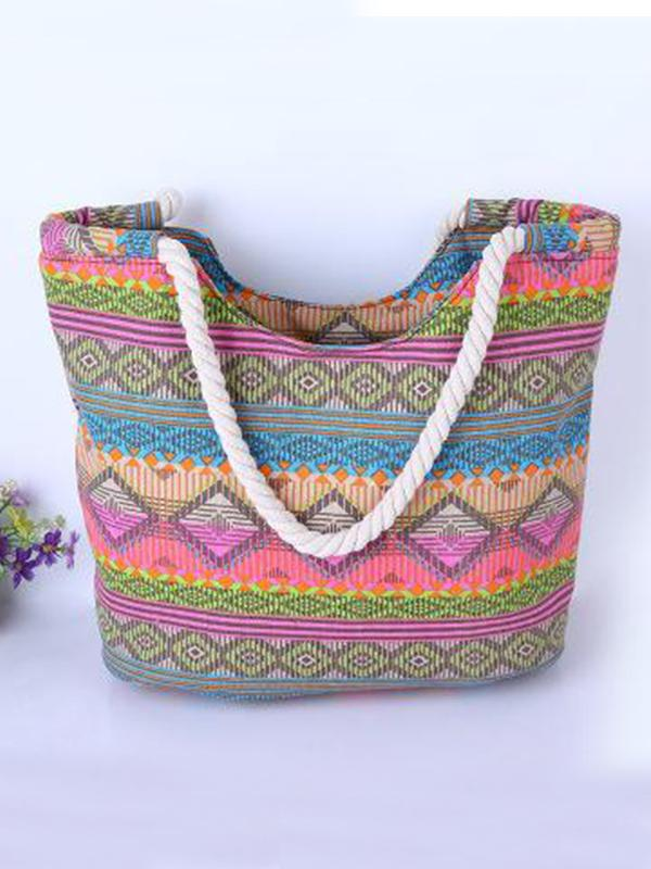 Casual Vintage Boho Colorful Canvas Bags Travel Big Shoulder Beach Bags