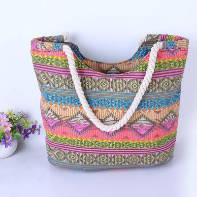 Casual Vintage Boho Colorful Canvas Bags Travel Big Shoulder Beach Bags - Bohogeist